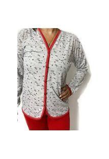 Pijama De Frio Plus Size Feminino Aberto Blusa Manga Longo E Calça