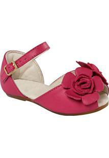 Sapatilha Peep Toe Em Couro Com Flor- Pinkkimey