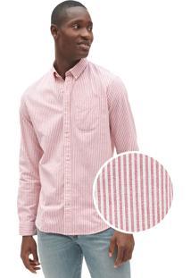 Camisa Gap Reta Listras Vermelha/Branca