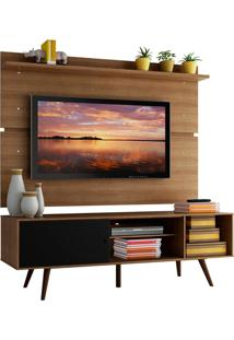 Rack Madesa Cairo E Painel Para Tv Atã© 65 Polegadas Com Pã©S De Madeira - Rustic/Preto/Rustic Marrom - Marrom - Dafiti
