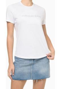 Blusa Básica Slim Embossed Branca Calvin Klein Jeans - Pp