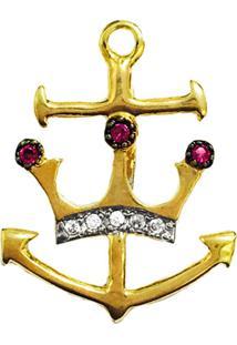 Pingente Prata Mil Âncora C/ Zircônia E Coroa Folheado Em Ouro Dourado