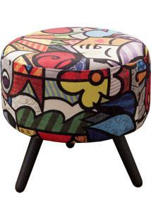 Puff Decorativo Alegria Colorido 1 Lugar Com Revestimento Suede - Matrix