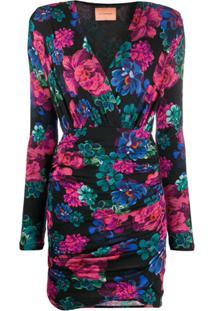 Andamane Vestido Franzido Com Estampa Floral - Preto