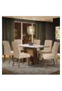 Conjunto Sala De Jantar Madesa Patricia Mesa Tampo De Vidro Com 6 Cadeiras - Rustic/Branco/Imperial