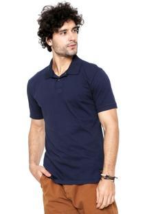 Camisa Polo Redley Meia Malha Azul-Marinho