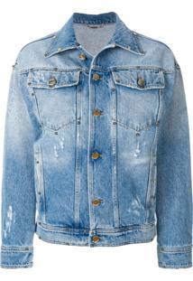 Versace Jaqueta Jeans Com Estampa - Azul