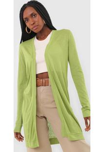Maxi Cardigan Dress To Liso Verde - Verde - Feminino - Viscose - Dafiti