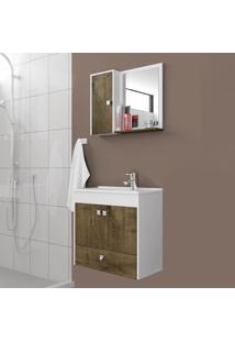 Conjunto Para Banheiro Catar Brando/Madeira Rústica - Bechara Móveis