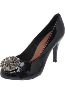 Scarpin Dafiti Shoes Pedrarias Preto