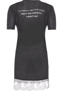 Camiseta Feminina Linho Renda Lais - Preto