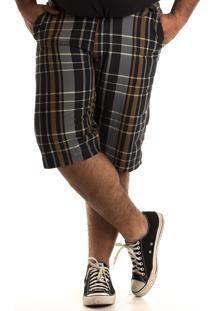Bermuda Konciny Xadrez Plus Size Marrom