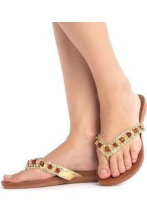 Chinelo Sandalia Ousy Shoes Rasteirinhas Caramelo