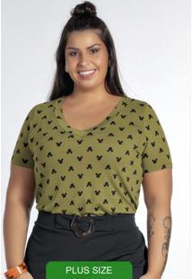 Blusa Com Decote V E Estampa Mini Print Verde