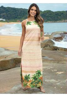 Vestido Longo Barrado Areia Com Fendas Laterais