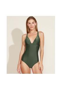 Maiô Body Texturizado Com Bojo E Proteção Uv50+ Verde Escuro