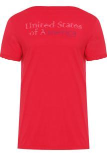 Camiseta Masculina Us Of America - Vermelho
