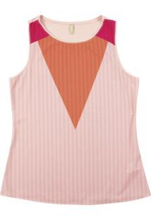 Blusa Sem Manga Em Tecido Rosa