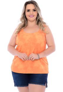 Blusa Plus Size Tie Dye Laranja Arimath