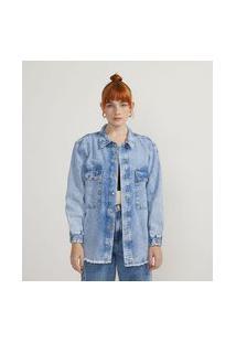 Camisa Jeans Marmorizada Com Bolsos E Punho Elástico | Blue Steel | Azul | G