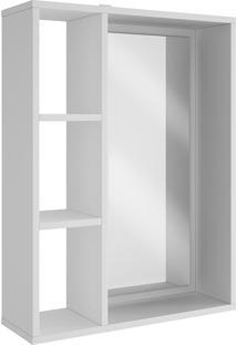 Armário Aéreo Com 2 Prateleiras E Espelho Bbn 03 - Brv Móveis - Branco