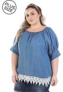 Blusa Plus Size - Confidencial Extra Jeans Ciganinha Molly Manga Curta