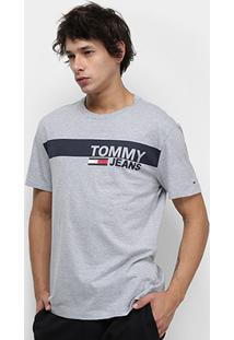 Camiseta Tommy Jeans Essential Box Logo Tee Masculina - Masculino-Cinza
