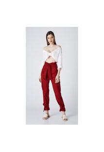 Calça Jeans Express Mom Clochard Priscila Bordo Vermelho