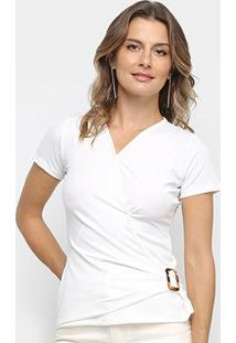 Blusa Los Wear Canelada Transpassada Com Fivela Feminina - Feminino-Off White