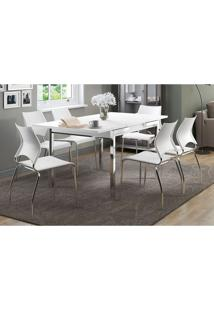 Mesa Extensível 1541 Branca Cromada Com 6 Cadeiras 357 Branca Carraro