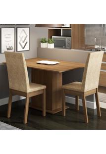 Conjunto Sala De Jantar Madesa Dai Mesa Tampo De Madeira Com 2 Cadeiras Marrom - Tricae