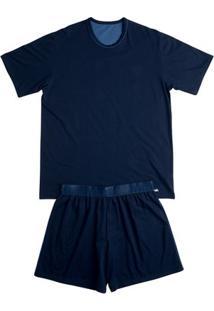 Conj. Pijama Cotton Manga Curta Azul Marinho G