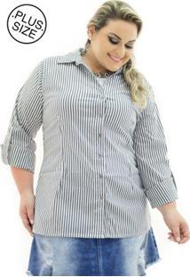 Camisa Tricoline Confidencial Extra Plus Size Listrada Feminina - Feminino-Preto