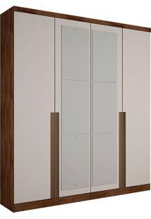 Guarda-Roupa Solteiro Com Espelho 4 Portas Morfeu-Novo Horizonte - Canela / Off White