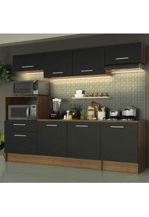 Cozinha Completa Madesa Onix 240001 Com Armário E Balcão - Rustic/Preto Marrom