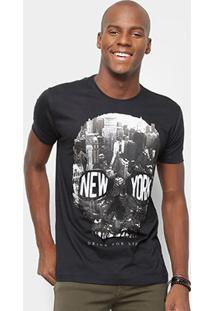 Camiseta Watkins & Krown Caveira Masculina - Masculino-Preto+Branco