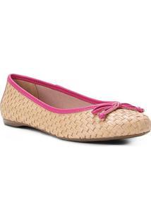 Sapatilha Shoestock Ráfia Laço Feminina - Feminino-Rosa