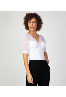 Liz Easywear Blusa Com Renda E Sutiã Embutido Feminina - Feminino-Branco