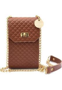Bolsa Mini Bag Porta Celular Transversal Matelassê Feminina - Feminino-Caramelo
