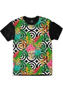 Camiseta Bsc Padrões E Listras Caveiras E Plantas Sublimada Masculina - Masculino-Branco