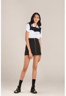 T-Shirt Leboh Gola Polo Com Recorte Preto Preto