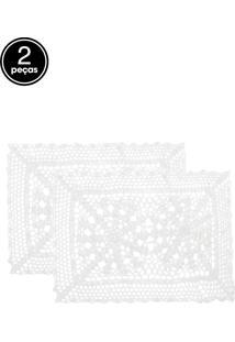 Jogo Americano 2Pçs Copa E Cia Crochet Branco