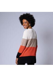 Casaco Tricot Multicolor Feminina - Feminino-Laranja Escuro