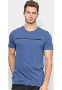 Camiseta Calvin Klein Faixa Logo Masculina - Masculino-Azul Escuro