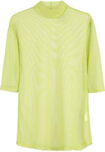 Nomia Blusa Translúcida Com Gola Alta Ampla - Verde