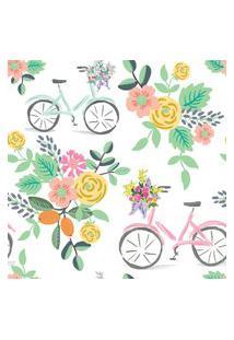 Papel De Parede Flores E Bicicletas Quarto Feminino 57X270Cm