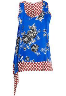 P.A.R.O.S.H. Blusa Assimétrica De Seda - Azul