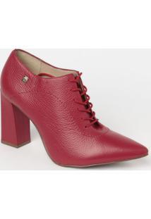 Ankle Boot Em Couro Com Amarraã§Ã£O- Vermelha- Salto: Loucos E Santos