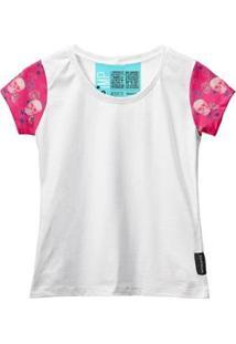 Camiseta Baby Look Feminina Algodão Estampa Caveira Moda - Feminino-Rosa+Branco