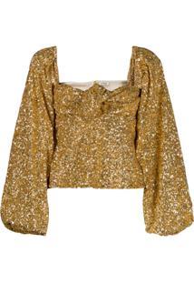c67cb82531 ... Attico Blusa Com Mangas Bufantes - Dourado